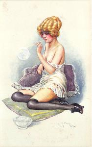 Beautiful Woman Partial Nude Blowing Bubbles Signed Maurice Milliere Postcard