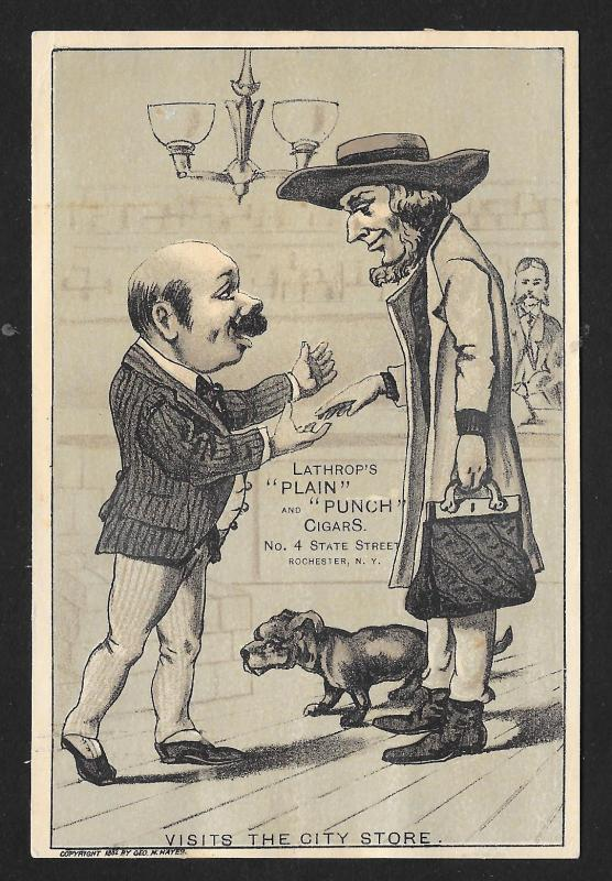 VICTORIAN TRADE CARD Lathrops Plain & Punch Cigars Men Greeting Visits the City
