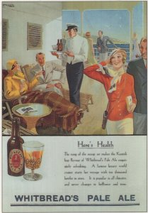 Whitbread Pale Ale Beer On Ship Rare Advertising Postcard