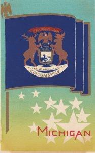 MICHIGAN , State Flag , 40-50s ; Serigraph