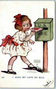 Artist-Signed KATHARINE GASSAWAY  Postcard I Send My Love By Mail 1907 Cancel