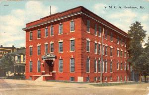 Henderson Kentucky YMCA Building Street View Antique Postcard K80914