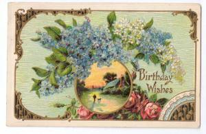 Birthday Postcard Embossed Gilded Forget Me Nots 1910