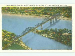 Unused Linen BRIDGE SCENE New Albany Indiana And Louisville Kentucky KY HQ9898