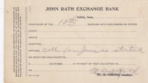 ACKLEY , Iowa , 1904 ; Receipt of payment postcard