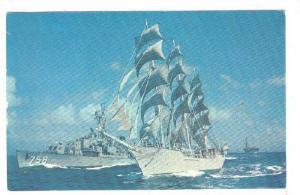 Norwegian Windjammer, S/S Christian Radich escorted by a U.S. Navy task force...
