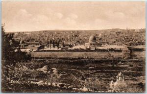 Vintage JERUSALEM Israel Postcard Panoramic Bird's-Eye View from Mount of Olives