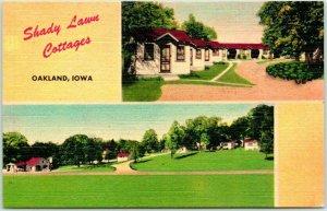 Vintage Oakland, Iowa Postcard SHADY LAWN COTTAGES Highway 6 Roadside LINEN