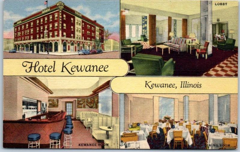 Kewanee Illinois Postcard Hotel Lobby Bar Views Curteich Linen C1940s