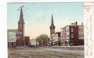 P1276 very old used postcard hospital square lewiston maine