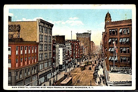 USA Main Street Looking West From Franklin Rochester New York Trolley Tram