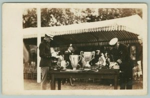 RPPC~Military Personnel Gather Around Trophy Table~c1937 Real Photo Postcard