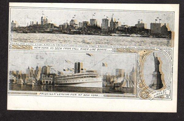 NY Steamer Steamship Ship Priscilla New York Postcard Carte Postale Postkarte