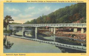 Bedford Narrows Pennsylvania~Bridge On Turnpike~Reflection~1940 Linen Postcard