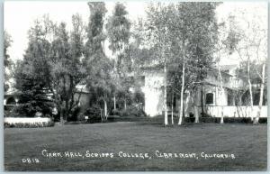 Claremont, California RPPC Photo Postcard Clark Hall, SCRIPPS COLLEGE 1940s