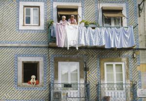 Portugal Dirty Washing Pensioners Dog Comic Lisboa Rua De Santo Bento Postcard