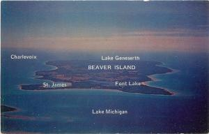 Beaver Island MI~Aerial View of Charlevoix, St James, Font Lake~Geneserth 1950s