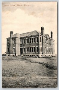 Meade Kansas~Public School~Out in the Middle of Nowhere~1911 B&W Postcard