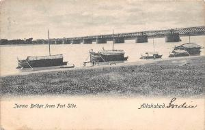 India Allahabad, Yamuna Bridge from Fort Side, boats 1916