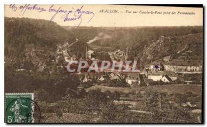 Old Postcard Avallon View Cousin the Bridge taking walks
