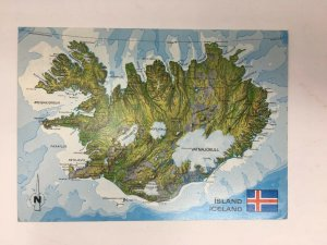 1975 Iceland Map Postcard Reykjavik Postmark Cancel