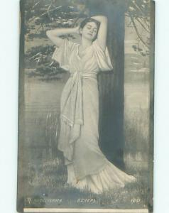rppc c1910 Risque PRETTY GIRL TRYING TO LOOK SEXY WITH ARMS UP AC8635