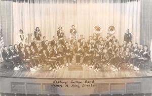 Hastings College NE Band~Sousaphones~Trombones~Flutes~Director King~RPPC 1951
