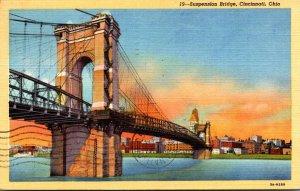 Ohio Cincinnati Suspension Bridge 1952 Curteich