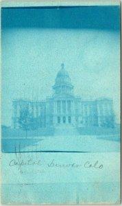 1906 DENVER Colorado RPPC Photo CYANOTYPE Postcard State Capitol Building View