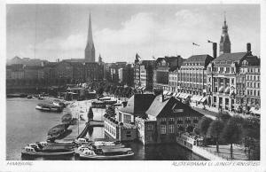 Hamburg Alsterdamm u. Jungfernstieg Harbour Boats Bateaux Panorama