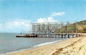 Malaysia Old Vintage Antique Post Card Fishermen's Nets hung out for dry...