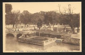 Nimes Garden & Fountain FRANCE Unused c1920s