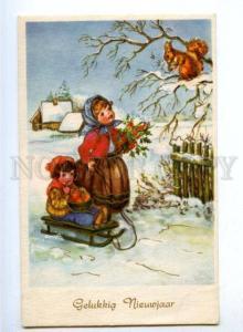 176522 NEW YEAR Kids w/ SQUIRREL Snow Vintage PC