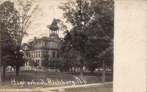 G22/ Richburg New York RPPC Postcard c1910 High School Building