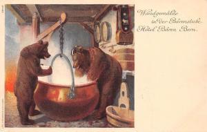 Schweiz Bern Wandgemaelde Baerenstube Hotel Baeren, Anthopomorphic Bears AK 1907