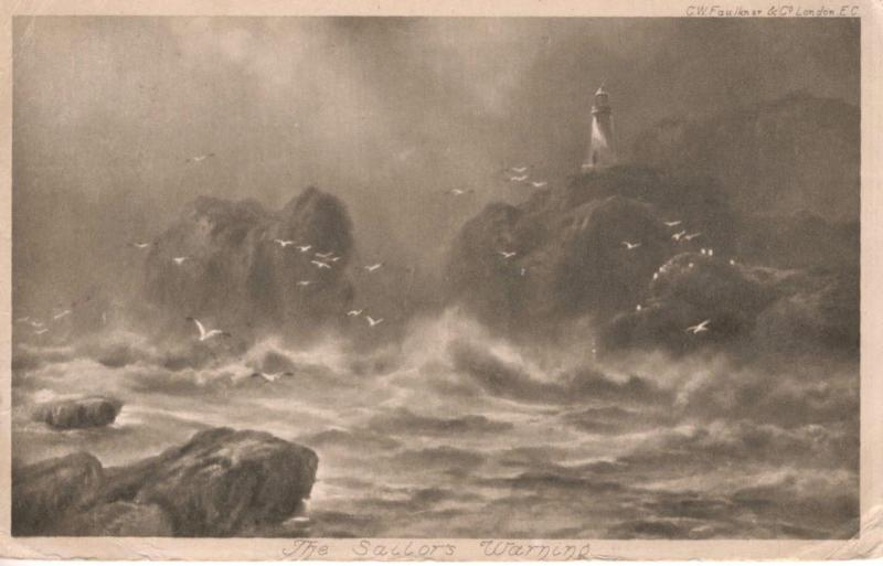 The Sailor's Warning  Lighthouse Ocean waves Storm CW Faulkner c1903 Postcard D8