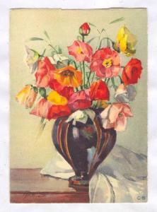 Artist Philippe, Flowers in Vase art postcard 20-40s #2