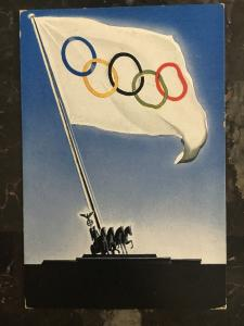Mint 1936 Berlin Germany Olympics Flag with Horses Picture Postcard