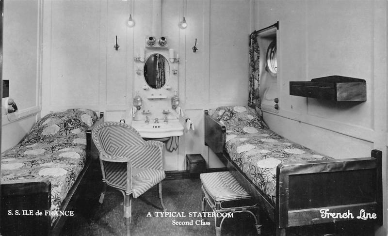 French Steamship Line~SS Ile de France~Second Class Stateroom~On 9/3 1933~RPPC