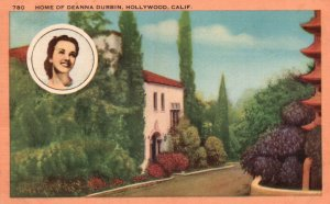 Hollywood, California, CA, Home of Deanna Durbin, Linen Vintage Postcard g9354