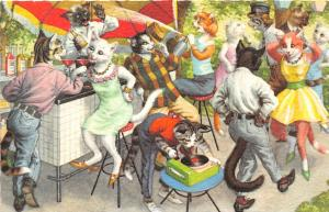 F60/ Alfred Mainzer Dressed Cats Postcard c1940s Bar Scene Record Player 12