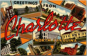 CHARLOTTE North Carolina Large Letter Postcard Multi-View Tichnor Linen - 1953