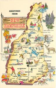 New Hampshire Map~Alton~Woodsville~Groveton~Salem~The Flume~Peterborough 1950s