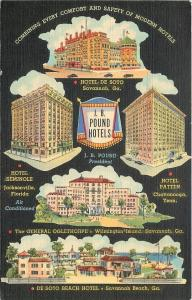 Savannah GA~JB Pound Hotels~De Soto Beach~Wilmington Island~Black Back~Linen '41