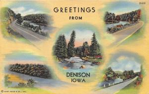 Denison Iowa~Five Views of the Boyer River~1940 Postcard