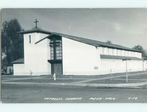 Pre-1950 rppc CATHOLIC CHURCH Mesa Arizona AZ t2616
