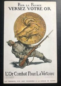 Mint WW 1 France Patriotic Postcard Pour Your Own Gold For The Victory 1915