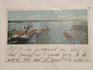 Postcard South Entrance Sou Locks Sault Ste Marie MI C1905 Red Letter Ships 1035