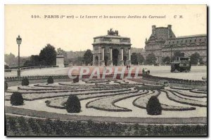 Old Postcard Paris I stopped the Louvre and the new gardens of the carousel