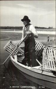 Aquaculture Lobster Industry in Maine Old Lobsterman w/ Traps in Boat RPPC rpx